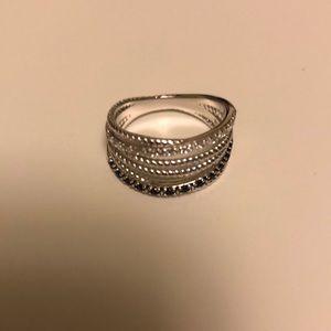 Size 6 sterling silver AVON woven CZ ring